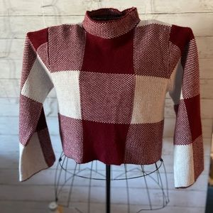 Maroon Plaid Cropped Sweater